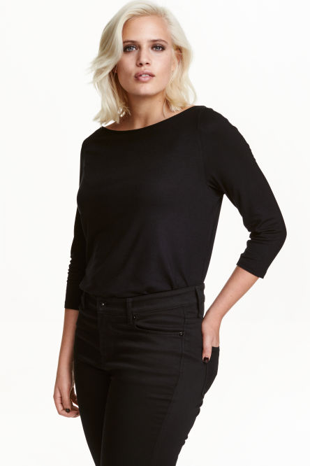 H&M+ Tricot top met boothals