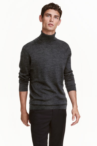 Merino wool polo-neck jumper - Dark grey marl - Men | H&M GB 1