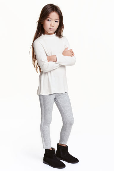 Sturdy jersey leggings - Grey marl - Kids | H&M CN 1