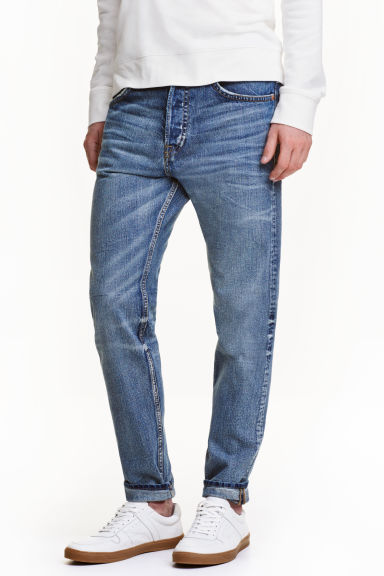 Tapered Low Jeans - 牛仔蓝 - 男士 | H&M CN 1