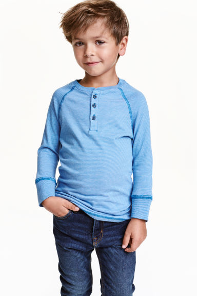 Long-sleeved Henley shirt - Lt.blue/Narrow strip - Kids | H&M CN 1