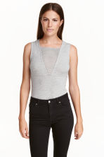 Sleeveless jersey body - Grey marl - Ladies | H&M CA 1