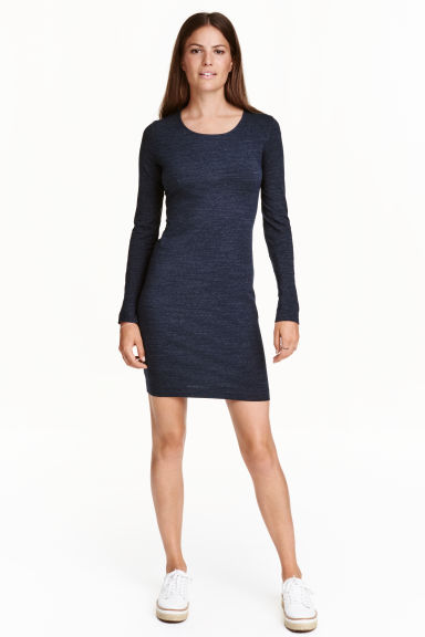 Short jersey dress - Dark blue marl - Ladies | H&M CN 1