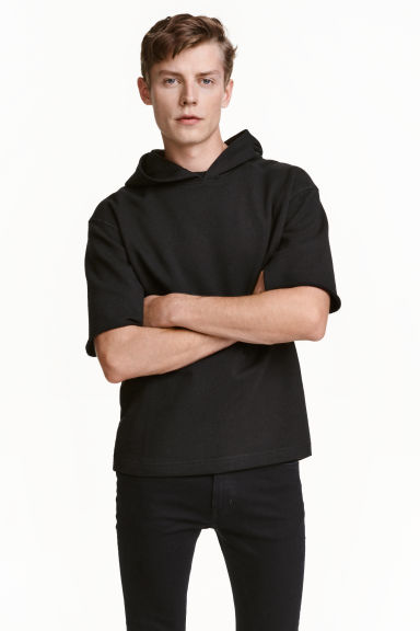 Short-sleeved hooded top - Black -  | H&M CN 1