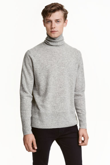 Fine-knit polo-neck jumper - Grey marl - Men | H&M GB 1