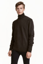 Fine-knit polo-neck jumper - Dark brown marl - Men | H&M CN 1