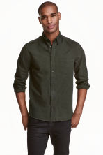 Cotton shirt - Dark khaki green - Men | H&M CN 1