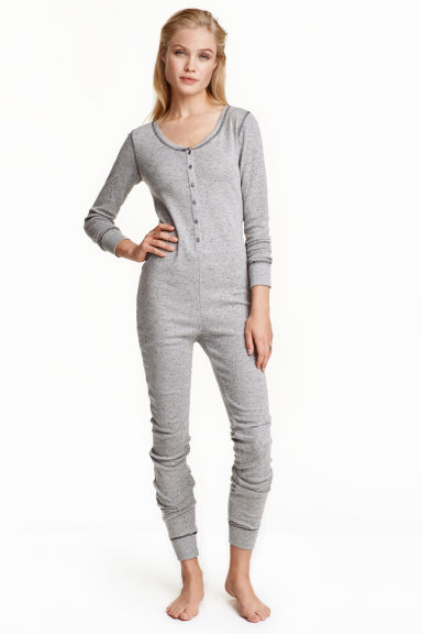 Jersey jumpsuit - Grey marl - Ladies | H&M CN 1