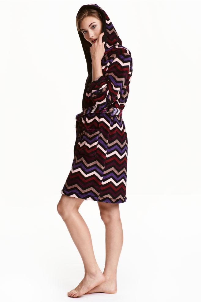 Fleece dressing gown - Burgundy/Zigzag - | H&M IE
