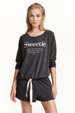 Pyjamas with top and shorts - Dark grey - Ladies | H&M CN 1