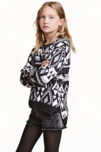 Jacquard-knit jumper - Black/Grey - Kids | H&M CN 1