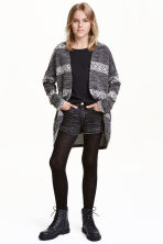 Jacquard-knit cardigan - Black/Striped -  | H&M CN 1