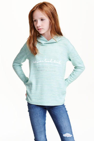 Knitted hooded top  - Mint green marl - Kids | H&M CN 1