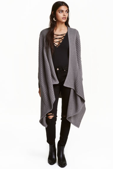 Draped cardigan - Dark grey - Ladies | H&M CN 1