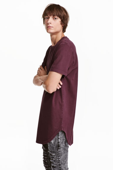 T-shirt with a worn look - Burgundy - Men | H&M CN 1