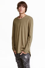 Long-sleeved T-shirt - Khaki green - Men | H&M CN 1