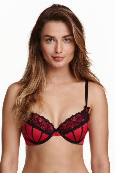 Microfibre push-up bra - Red - Ladies | H&M CN 1