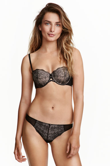 String briefs in lace and mesh - Black - Ladies | H&M CN 1