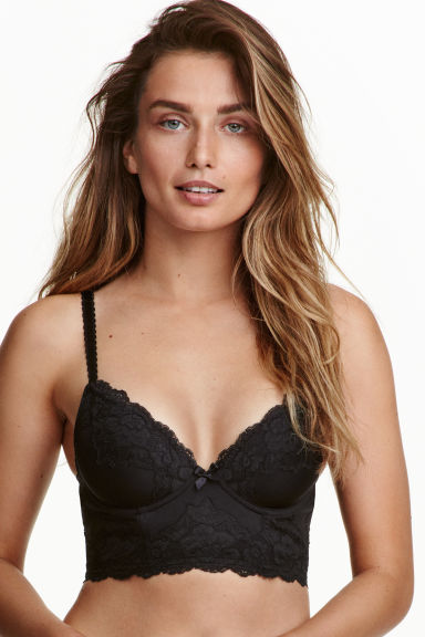 Bustier in microfibre and lace - Black - Ladies | H&M CN 1