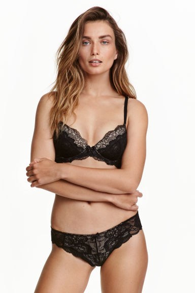 Lace half-string briefs - Black - Ladies | H&M CN 1