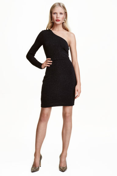 Glittery one-shoulder dress - Black -  | H&M CN