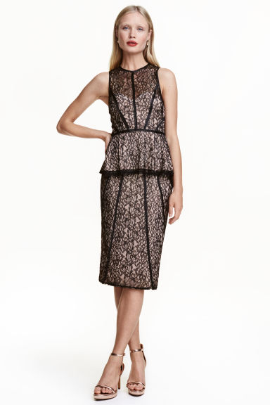 Gonna a tubino in pizzo - Nero/cipria - DONNA | H&M IT 1