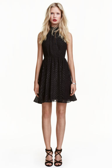 Chiffon halterneck dress - Black - Ladies | H&M IE