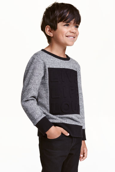 Printed sweatshirt - Black/White marl - Kids | H&M CN 1