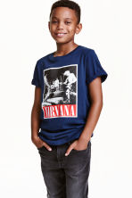 Printed T-shirt - Dark blue/Nirvana -  | H&M CN 1