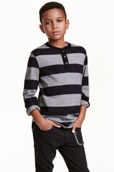 Henley shirt in slub jersey - Black/Striped - Kids | H&M CN 1