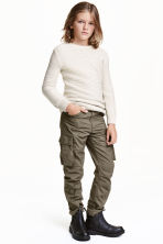 Lined cargo pants - Khaki green - Kids | H&M CN 1