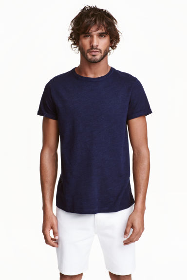Slub jersey T-shirt - Dark blue - Men | H&M CN 1