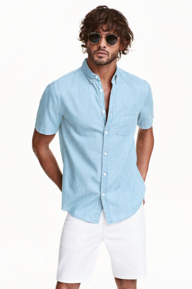 Camicia di jeans Regular fit - Blu denim chiaro - UOMO | H&M IT 1