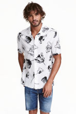 Short-sleeved shirt - White/Floral - Men | H&M CN 1