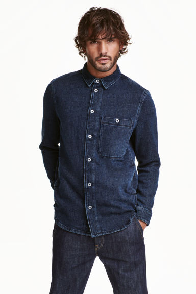 Denim shirt - Dark denim blue - Men | H&M CN