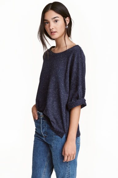 Top with a nepped texture - Dark denim blue - Ladies | H&M CN
