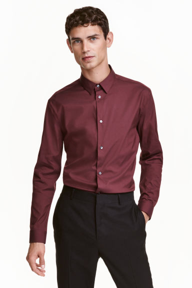 Stretch shirt Slim fit - Burgundy - Men | H&M CN 1