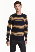 Jumper in premium cotton - Dark blue/Striped - Men | H&M CN 1