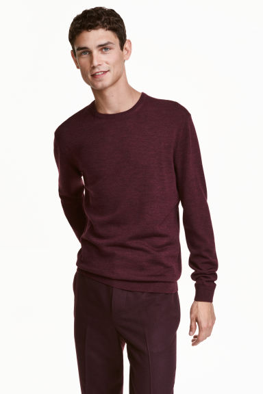 Merino wool jumper - Burgundy - Men | H&M CN 1