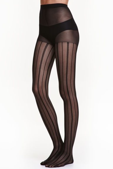 Striped tights - Black - Ladies | H&M CN 1