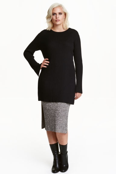 H&M+ Ribbed pencil skirt - Black/White marl - Ladies | H&M CN 1