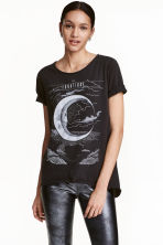 Printed T-shirt - Black - Ladies | H&M CN 1
