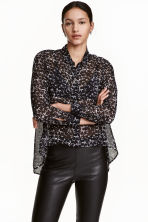 Chiffon shirt - Black/White/Patterned - Ladies | H&M CN 1