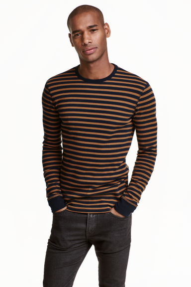 Waffled top - Dark blue/Striped - Men | H&M CN