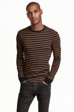 Waffled top - Dark blue/Striped - Men | H&M CN 1