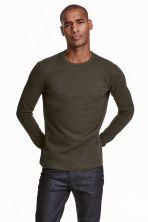 Waffled top - Dark khaki green - Men | H&M CN 1