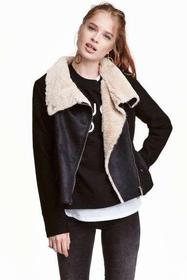 Wool-blend flying jacket - Black - Ladies | H&M CN