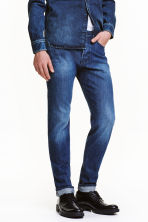 Slim Tapered Selvedge Jeans - 深牛仔蓝 - Men | H&M CN 1