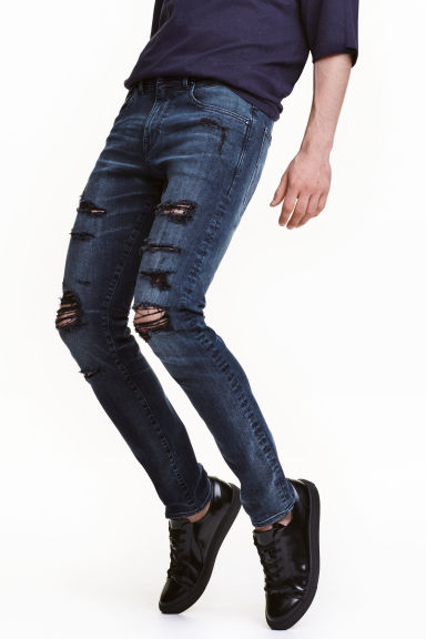 Tech Stretch Slim Low Jeans - 深牛仔蓝 - 男士 | H&M CN 1