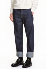 Relaxed Cropped Selvedge Jeans - 深牛仔蓝 - 男士 | H&M CN 1